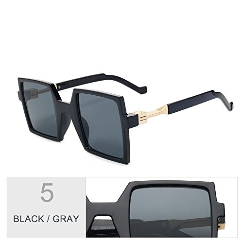 Enormes Azul De Gran Mujeres TIANLIANG04 De Uv400 De De Sol Black Gray Fondo Unas Piazza Mujer Negro Telón Gafas La Anteojos gUxCw5qA