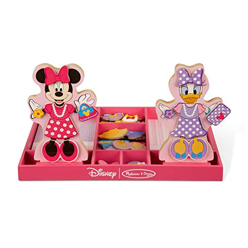 Melissa amp Doug Disney Minnie Mouse and Daisy Duck Magnetic DressUp Wooden Doll Pretend Play Set Display Stands Great Gift for Girls and Boys  Best for 3 4 5 Year Olds and Up