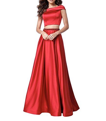 Satin Ballkleider Abendkleider Promkleider Brau Jugendweihe Linie teilig A La Zwei Rot Partykleider Kleider mia Festlichkleider YxXEFRqnwB