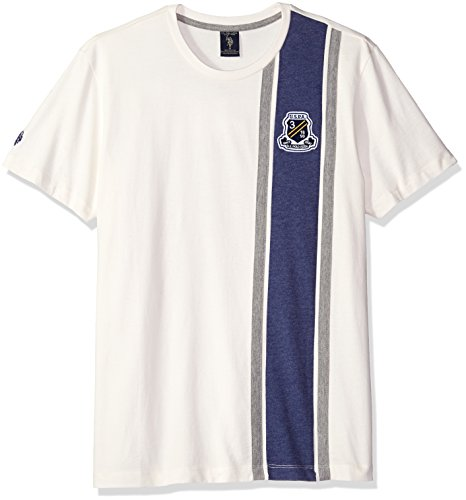 U.S. Polo Assn. Men's Crew Neck Crest Patch Vertical Striped T-Shirt, White Winter, Small