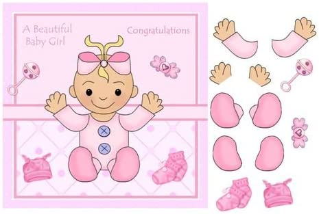 Rattle Dummy Baby Girl Card with decoupage Socks /& hat by Julie Hassall