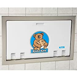 Koala Kare KB100-05ST Baby Changing Station, Recess Mounted Horizontal Plastic w/Stainless Steel Flange - White Granite