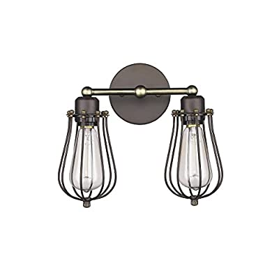 """Chloe Lighting CH857044RB12-WS2 Industrial Industrial-Style 2 Light Rubbed Bronze Wall Sconce 12"""" wide"""