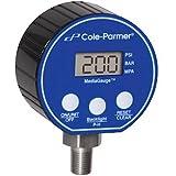 Cole-Parmer Digital Pressure Gauge, 0-1000 psi, 3'' Diameter, 1/4'' NPT(M)