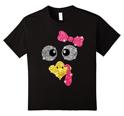 Kids Turkey Face Girl T-shirt Thanksgiving Gift 6 (Kids Thanksgiving)