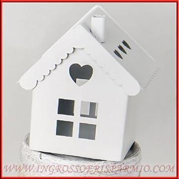 Mini faroles portavelas con forma de casita blanca con borde de forma de corazón y Tejado desmontable - Bombonera boda, cumpleaños, nacimiento, bautizo, ...