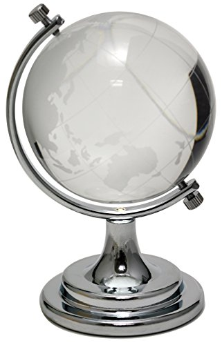Crystal Castle Glass Earth Globe With Display Stand (Silver)