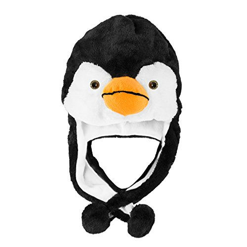 Penguin Plush Animal Winter Ski Hat Beanie Aviator Style Winter (Short) Black/White -