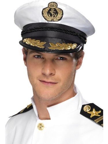 Smiffys Captain Cap White with Golden -