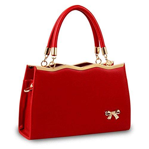 Vino Fashion Cruz Cuerpo Qckj Mujer De Hombro New Bolso Bolsa Lazo Rojo Pu 6wfPqExt5