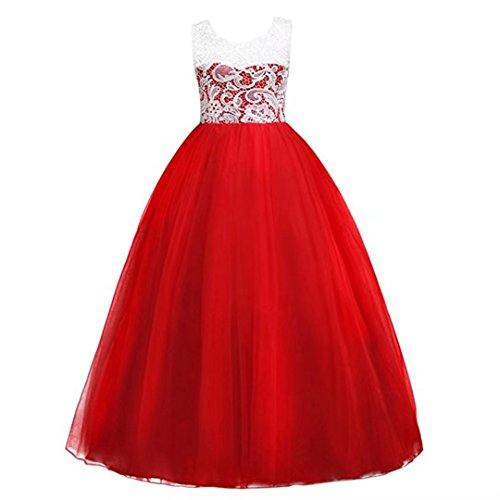 ZAH Big Gril Lace Flower Wedding Girl Party Fall (Child Dress Online)