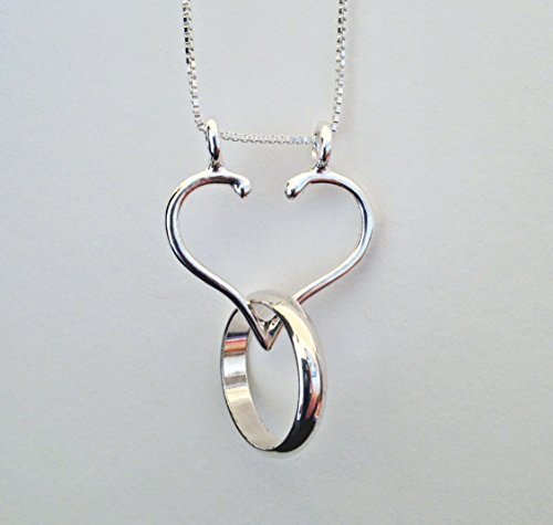 "Ring Holder Necklace, Made in USA, Open Heart by Ali C Art, approx. 1"" x 1"" is one solid piece. Handmade Sterling Silver Jewelry. Wedding, Engagement, Anniversary Infinity Love Gift for Her, Wife, Mom"