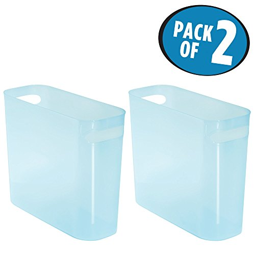 mDesign Slim Rectangular Trash Can Wastebasket, Garbage Container Bin with Handles for Bathrooms, Kitchens, Home Offices, Dorms, Kids Rooms — Pack of 2, 10 inch high, Shatter-Resistant Plastic, Water by mDesign