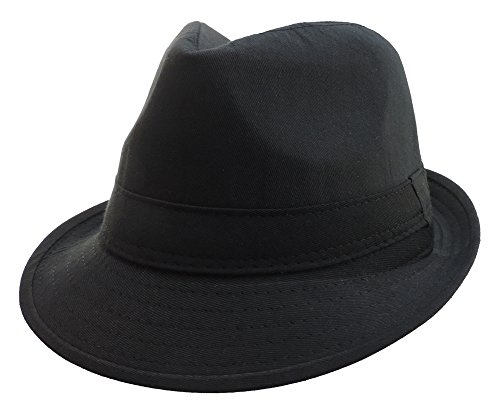 100% Polyester Soft Black Gangster Mobster Fedora