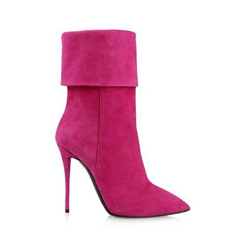Pie 3 Tacón Zapatos Invierno Alto Dedo Rosa Puntiagudo Bridas Rojo eur35uk3 Mujeres 35 Nvxie Gamuza Otoño Rosered Eur De Fiesta Botas uk Trabajo Del vS7wI1
