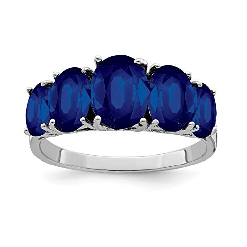 (925 Sterling Silver Dark Sapphire Band Ring Size 7.00 Stone Gemstone Fine Jewelry Gifts For Women For)