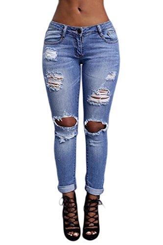 Le Lunghi Alta Jeans Strappato Vita Occasionale Buchi Skinny Blue Donne OBqw7x6r8O