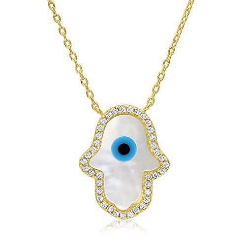 Unique Royal Jewelry Hamsa Hand Sterling Silver Cubic Zirconia Evil Eye Necklace – Yellow Gold Finish – Expands from 16 -18