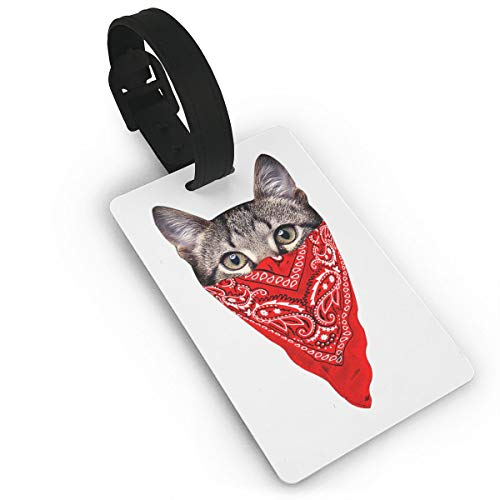 (Mini Luggage Tag Masked Cat PVC Business Card Holder for Baggage Bag Name Address ID Label Travel)