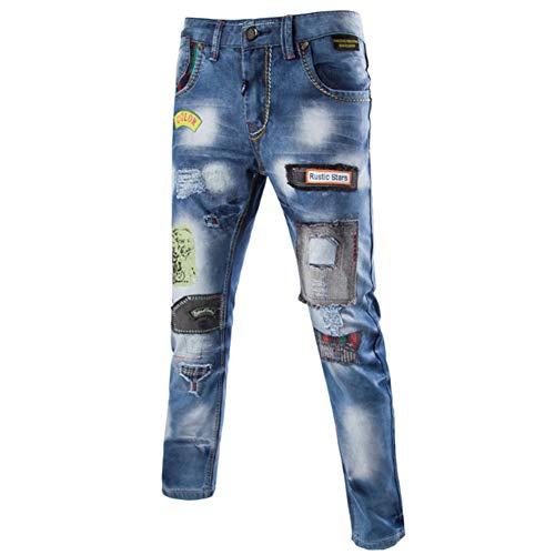 Metà Tasca Buio Vita Uomo Lavato Uomini Dritti Da Jeans Cerniera Imbiancamento Elastica Della Sfsf Consumati Selvaggio Forza MUSpzV