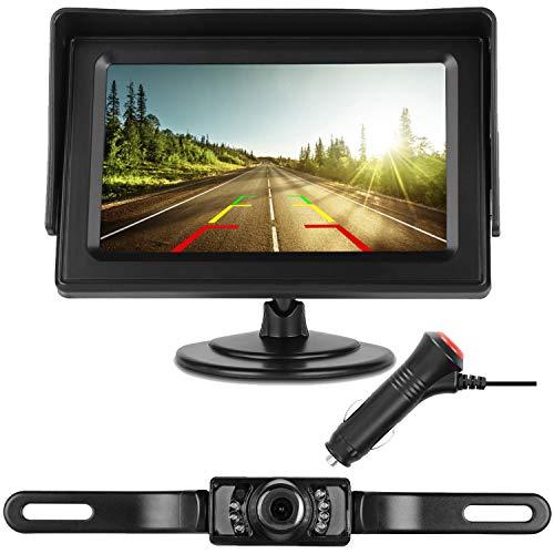 DohonesBest Backup Camera Single Power for Car/RV/Pickup/Truck Easy Installation 4.3 Monitor Driving/Reversing High-Speed Observation System Parking Asistance System