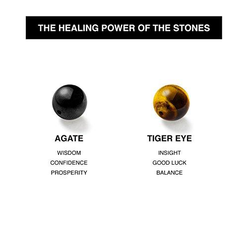 Chakra Bracelet KRMA Organic Cotton Jewelry Bag | Black Agate & Tiger Eye | Japanese String | Energy Stone Prosperity Bracelet by KRMA Prosperity Jewelry (Image #3)