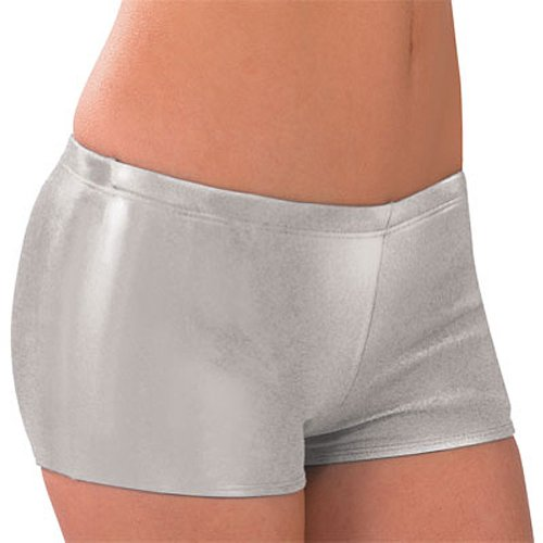 Metallic Low Rise Boy Cut Cheerleading Briefs, Adult Small, Metallic Silver (Cheerleading Boy Cut Briefs)