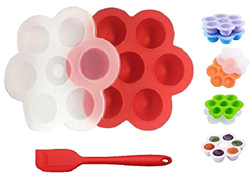 Silicone Egg Bites Molds with Silicone Spatula by BestOffer | for Instant Pot Accessories Fits 5 6 8 qt Pressure Cooker Reusable Storage Container Freezer Trays for Baby Food BPA Free (1, Red) -