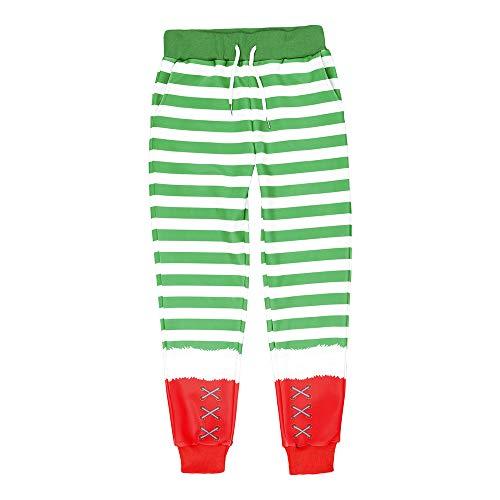 coollight Girls Santa Christmas for Boys Cotton Clothes Kids Toddler Sleepwear Pants(Green Pants Small/120)