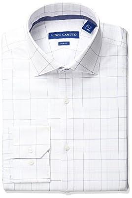 Vince Camuto Men's Slim Fit Stretch Glen Plaid Dress Shirt with Comfort Collar