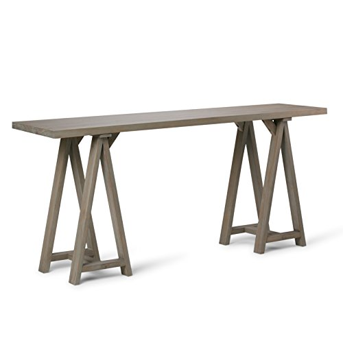 (Simpli Home 3AXCSAW-03W-GR Sawhorse Solid Wood 66 inch Wide Modern Industrial Wide Console Sofa Table in Distressed Grey)