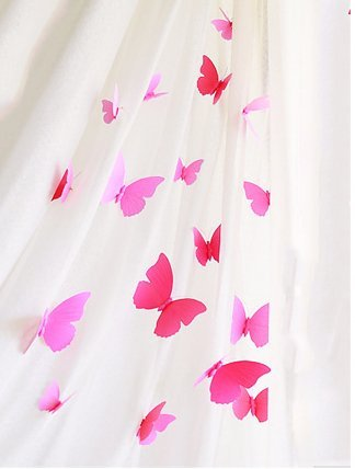 FLY SPRAY 3D Solid Color Pink Butterfly Removable Mural Wall Stickers Wall Decal For Home Decor (3 Way Multi Spray)