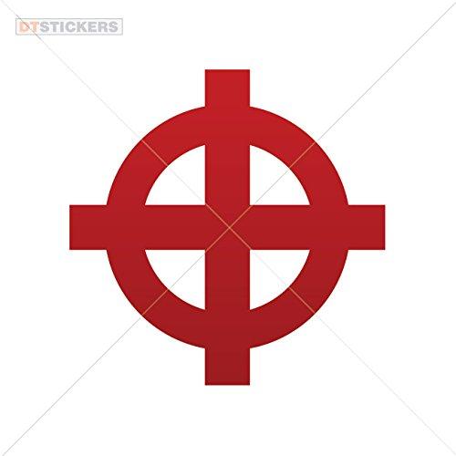 Vinyl Sticker Decals Cross Symbol Sports Bike body rock hieroglyph glow (13 X 13 Inches) Red Dark