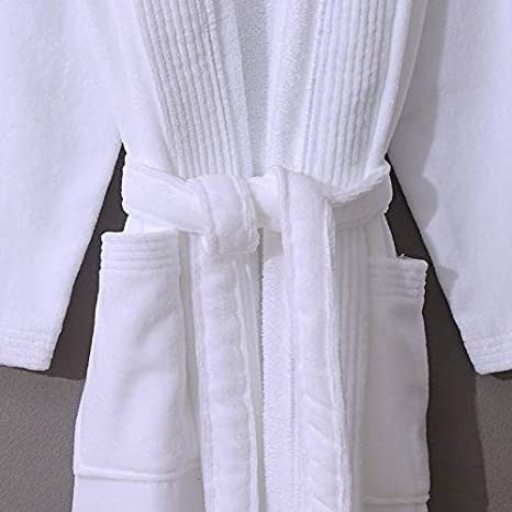 Bianca,L Unisex Bianco con Collo a Scialle Hhalibaba Accappatoio Cotone in Tessuto di Spugna e Morbido Cotone Adatto per Il Bagno Vari Colori