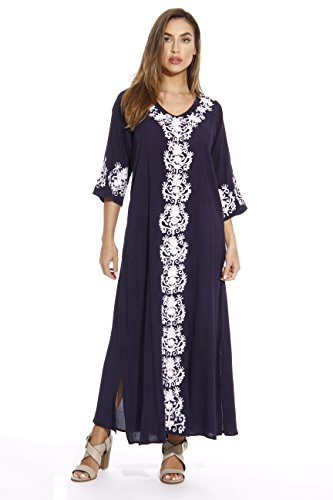 Riviera Sun 21737-NVY-1X Caftan/Caftans For Women (Caftan Rayon)