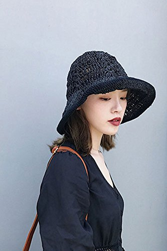 Generic Hollow hand-woven straw hat cap foldable hat cap women girls lady summer small fresh Beautiful leisure sun visor (Woven Hand Cap Straw)