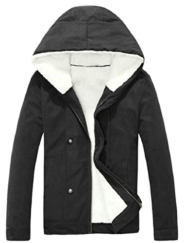 Jacket Warm Down Winter security Black Hooded Thick Men's Coat Zipper Fleece pgxqxEw87f