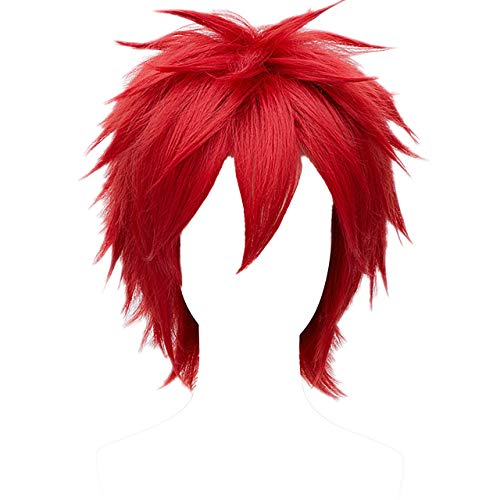 MSHUI Short Red Wig Anime Costume Cosplay -