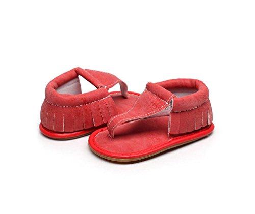Jamicy® Baby Sandalen, Jungen Mädchen Sommer Mode Quasten Beiläufige Feste Sohle Sandalen Schuhe Rot