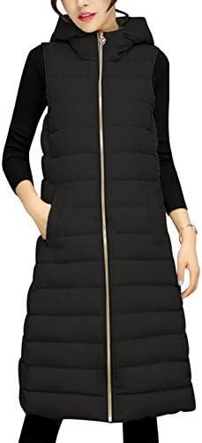 Tanming Women`s Winter Cotton Padded Long Vest Coat OuterwearHood