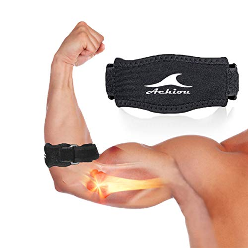 Achiou Tennis Elbow Brace Strap (1 Count),Golfer's Elbow Pain Relief with Compression Pad for Prevent Elbow Tendonitis,Tennis Elbow Protector for Bodybuilding,Squash (Black)