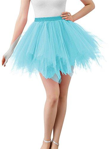 Adult Women 80's Tutu Skirt Layered Tulle Petticoat Halloween Tutu Light Blue