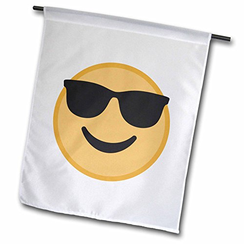 3dRose Xander inspirational images - Happy sunglass emoji, picture of emoji on a white background - 12 x 18 inch Garden Flag - Background Sunglasses