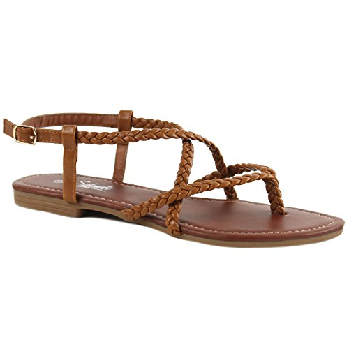 Solemate Women's Braided Strappy Gladiator Thong T Strap Flat Sandals (11 B(M) US, Tan)