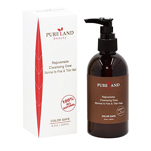 Pureland Beauty Rejuvenate Cleansing Dew - All Natural Hair Shampoo for Normal to Fine and Thin Hair - Sulfate Free and 100% Plant-Based - 8.5 oz.