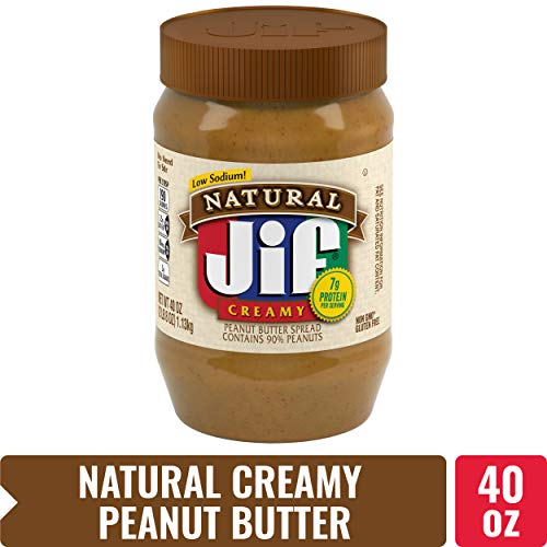 Jif Natural Creamy Peanut Butter, 40 oz. - 7g (7% DV) of Protein per Serving, Smooth, Creamy Texture - No Stir Natural Peanut Butter ()