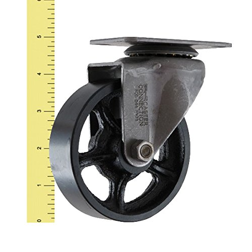 (Set of 4) 4'' CC Vintage Swivel Caster - Plate Mount - Black Cast Iron Wheels by CC Vintage (Image #1)