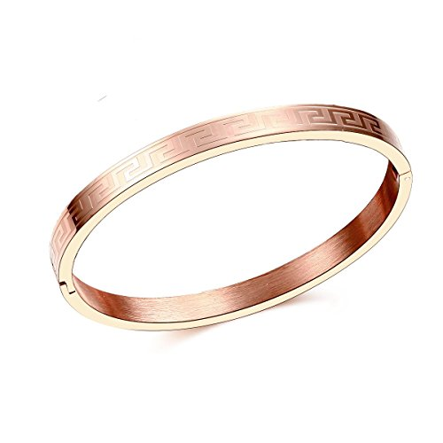 Carffany Oval High Polished Stainless Steel Bangle Bracelet Rose Gold Tone 7.5 Inches for Women Men Unisex (Rose Gold) ()