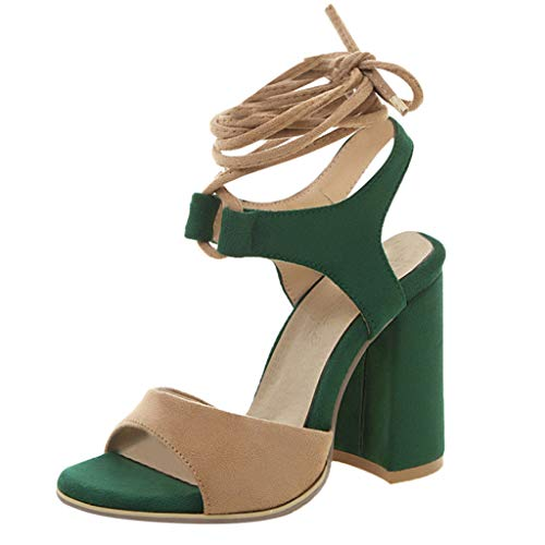 Cenglings Women's Fish Mouth High Chunky Heel Pumps Slip On Ankle Strap Lace Up Slingback Patchwork Sandals Office Shoes Green