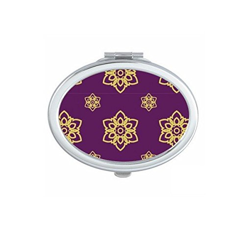 Kingdom of Thailand Thai Traditional Customs Purple Golden Weaving Decorative Pattern Satin Shrine Art Illustration Oval Compact Makeup Pocket Mirror Portable Cute Small Hand Mirrors by DIYthinker